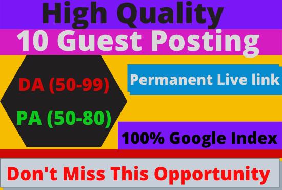 Write & Publish 10 Guest Post on DA50-90 Website Backlink