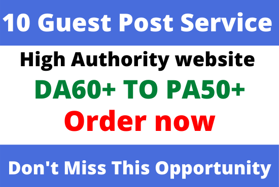 DA60+ Publish 10 Guest Post with high quality website Backlink