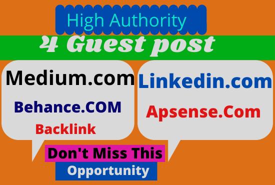 DA75+ Write and Publish 4 Guest Post on Medium,  LinkedIn,  Behance,  Apsense