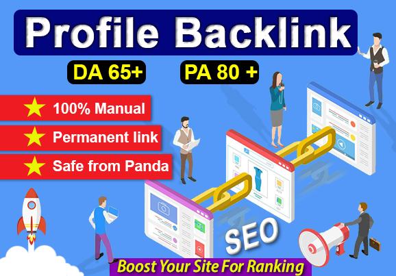 I will create organic 100 profile backlink with high DA 65 to 80 trusted and permanent backlinks.