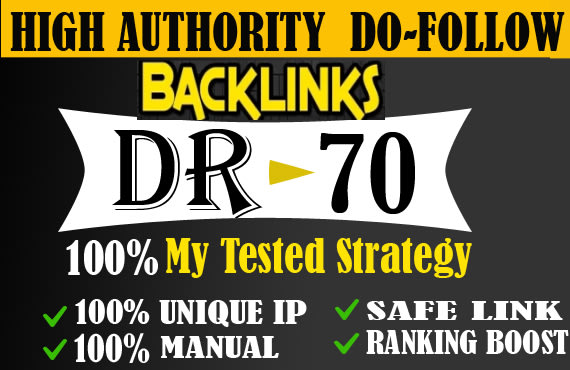 I will do 5 DR 50 to 70 seo dofollow contextual backlinks off page seo