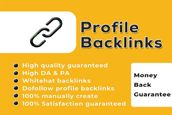 I will create 100 high authority profile backlinks manually