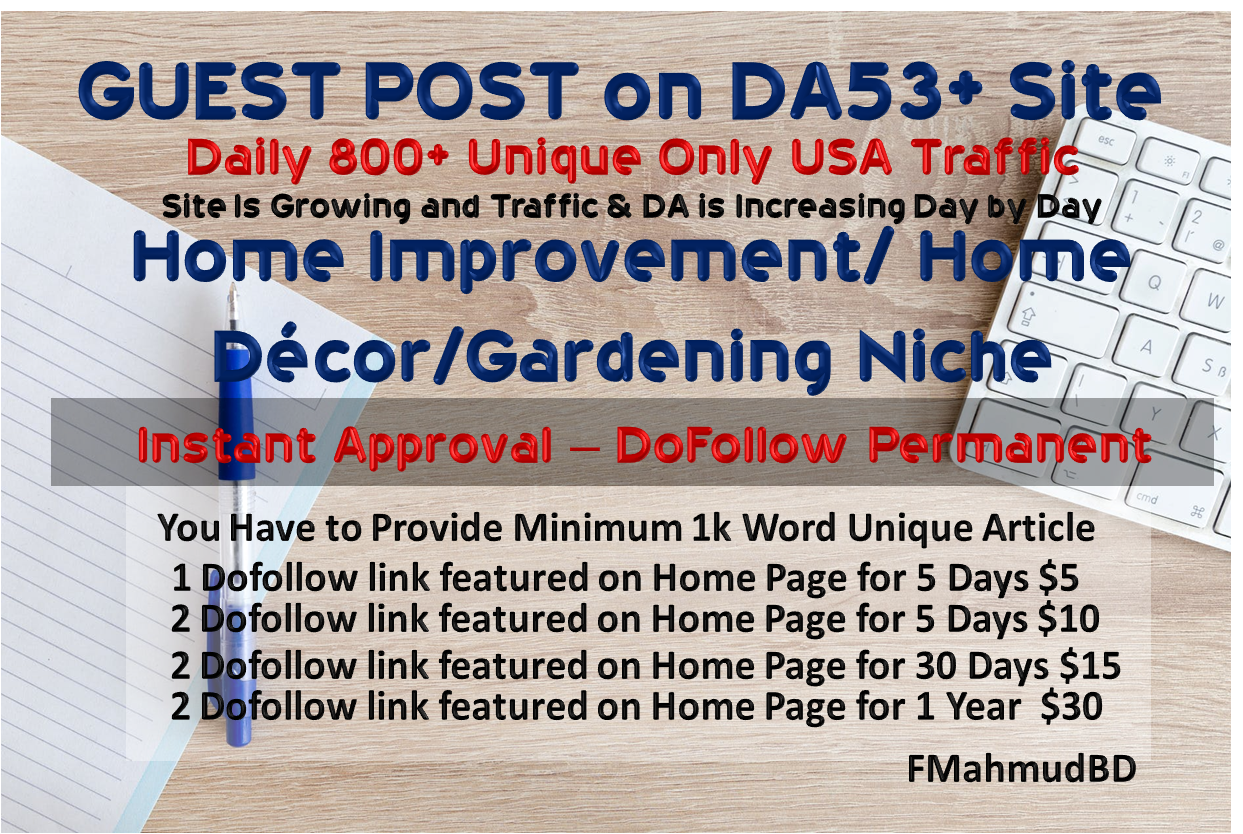 GuestPost on 2Site DA53+& DA40+ HomeImprovement HighAuthority NicheSite