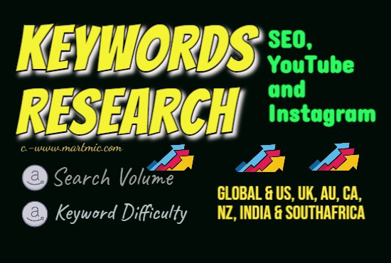 I will do keyword research for SEO,  youtube and instagram