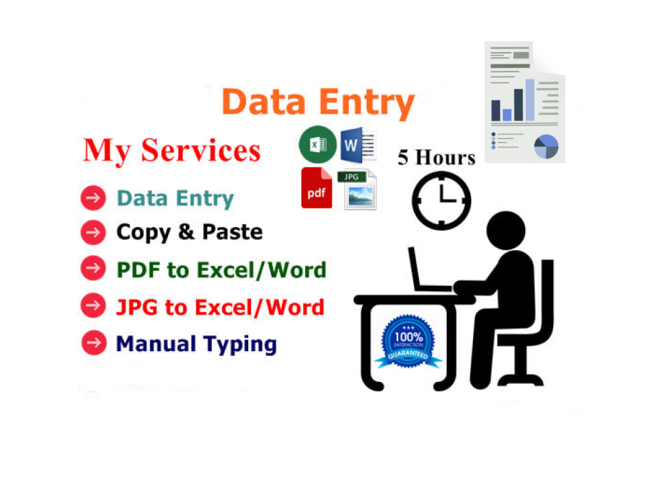 I will be your virtual assistant for data entry,  copy paste and typing work