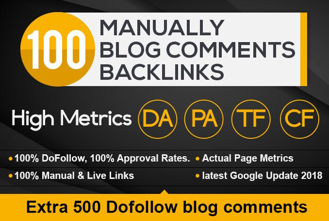 i will provide 100 high quality dofollow blog comment backlinks