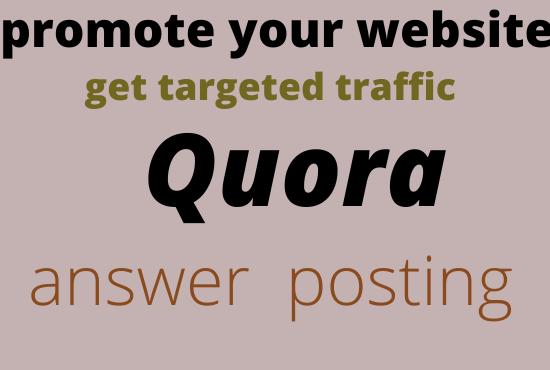 promote your website 40 HQ Quara answer posting get targete dtraffic