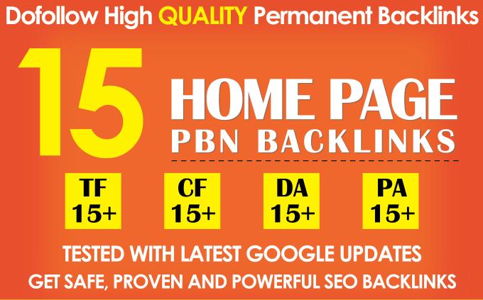I will 15 PBN TF CF DA PA 15+ high quality permanent Dofollow backlinks