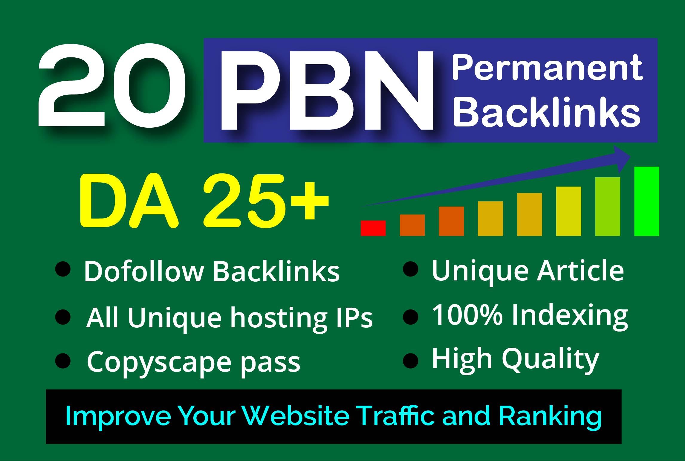 I will 20 PBN DA 25+ HomePage high quality permanent Dofollow backlinks