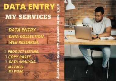 I will do your data entry with effective and efficient way.