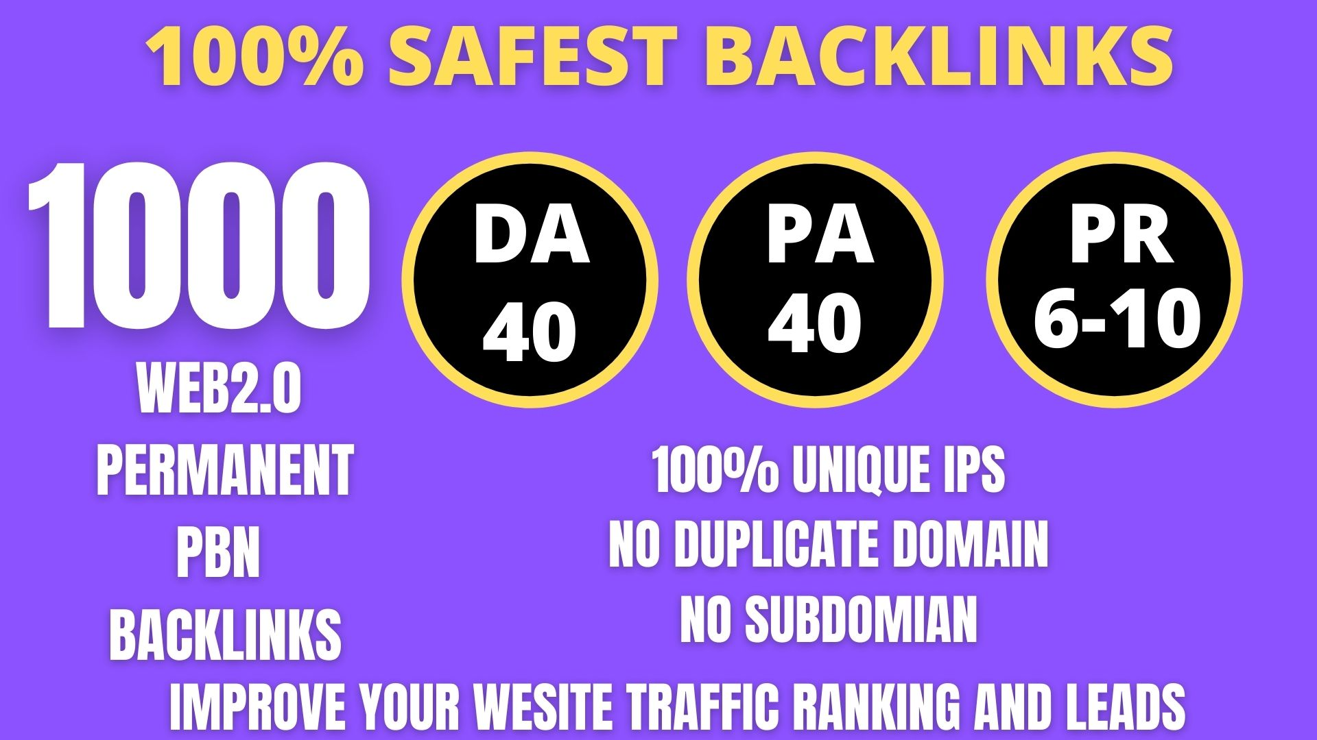 I WILL DO 1000+ Permanent Web2.0 Backlink with High DA/PA/TF/CF On your homepage with unique website