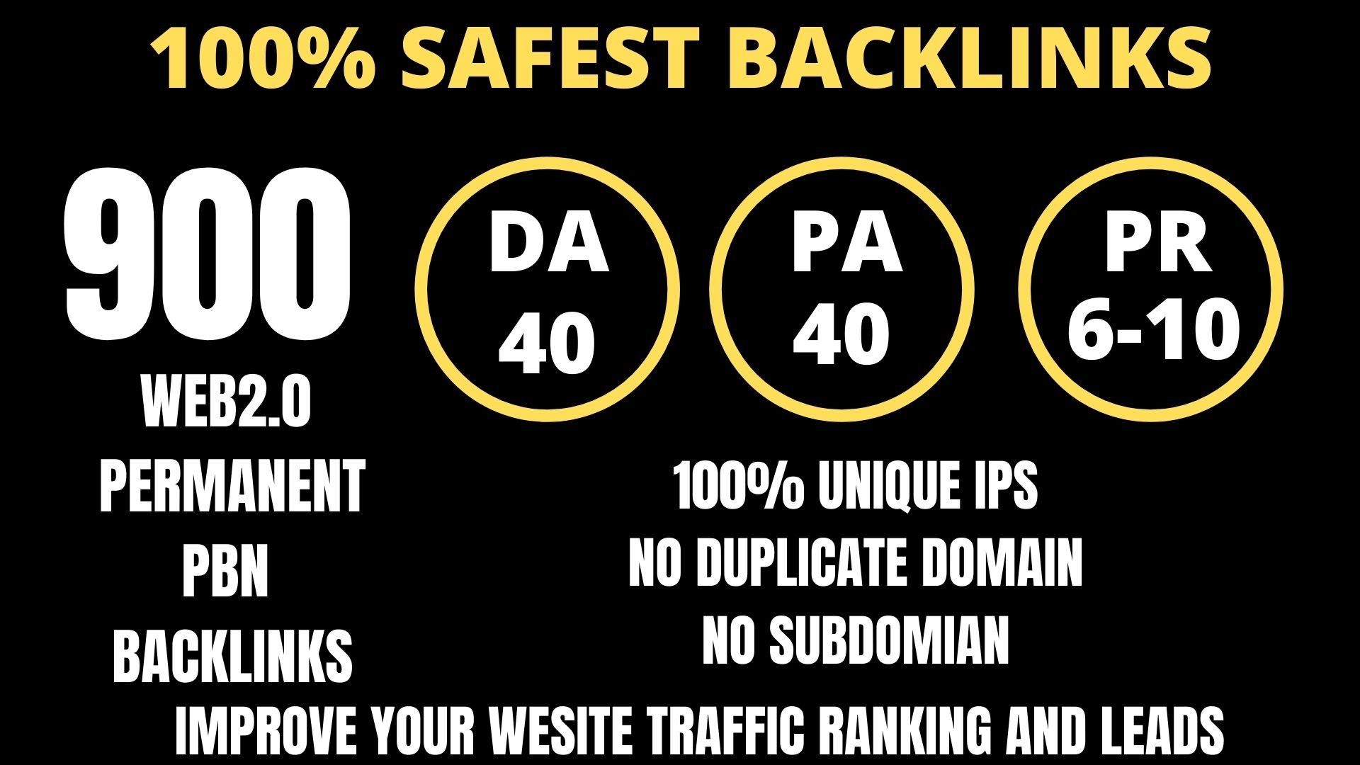 I WILL DO 900+ Permanent Web2.0 Backlink with High DA/PA/TF/CF On your homepage with unique website