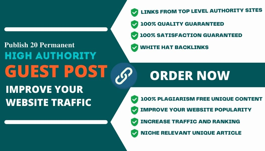 Provide 30 Permanent Guest Posts Backlinks to increase your Website Traffic