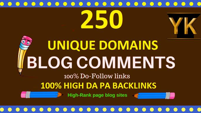 Create 250 dofollow unique domains blog comments high DA PA backlinks