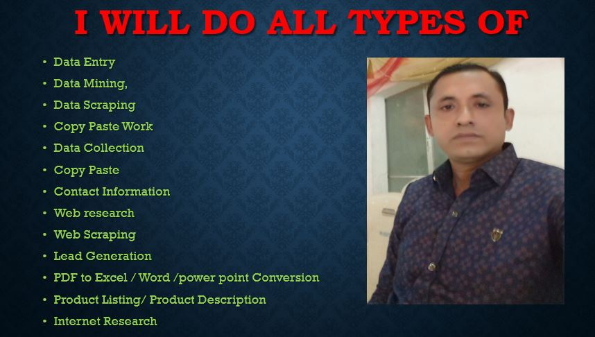 I will do data entry,  web research,  typing work,  copy paste,  excel data entry in 24 hrs