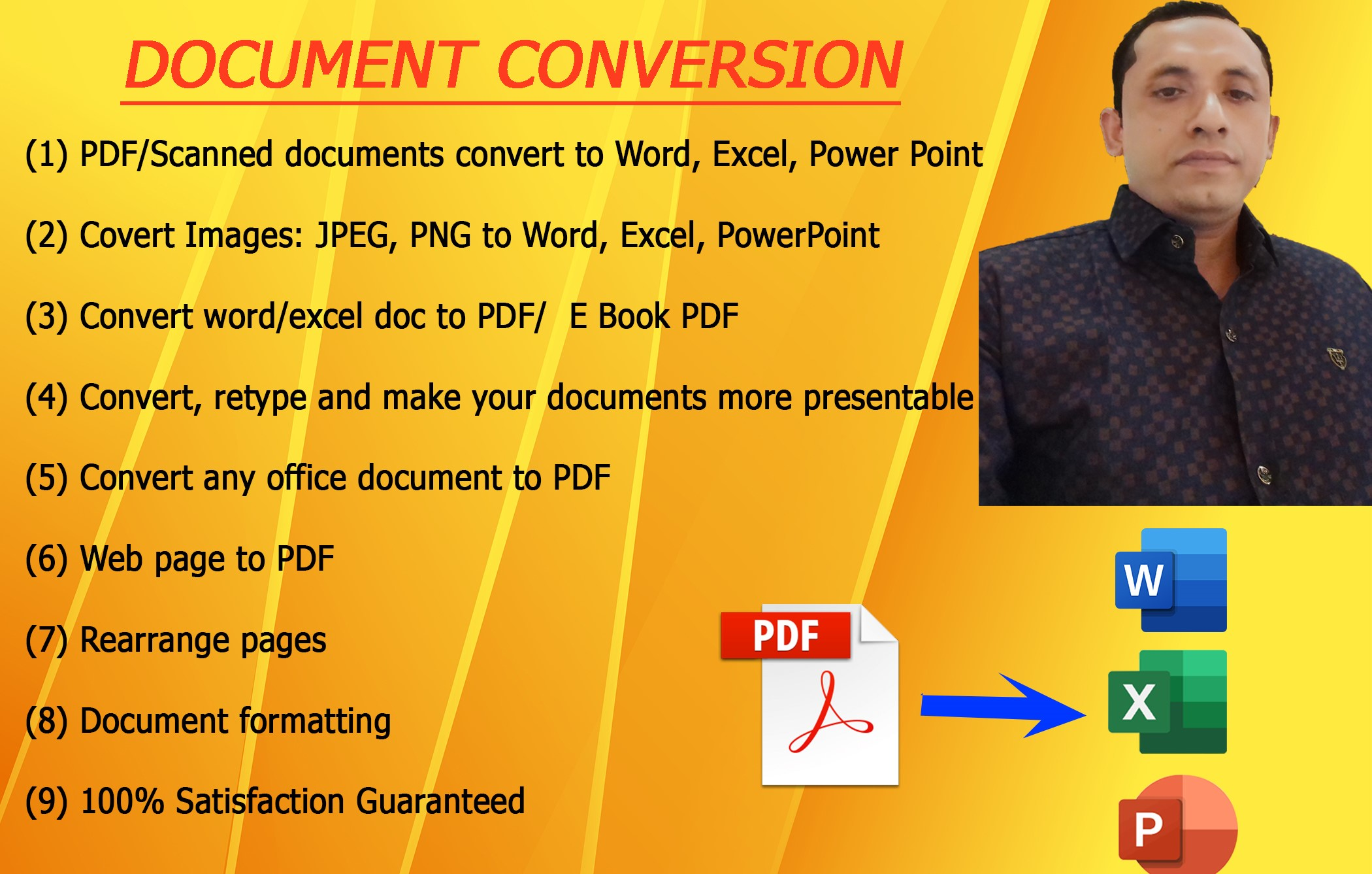 I will convert PDF to word,  excel or, powerpoint or any version