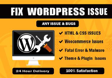 I will fix WordPress issues, 404 error,  bug or any WordPress problems