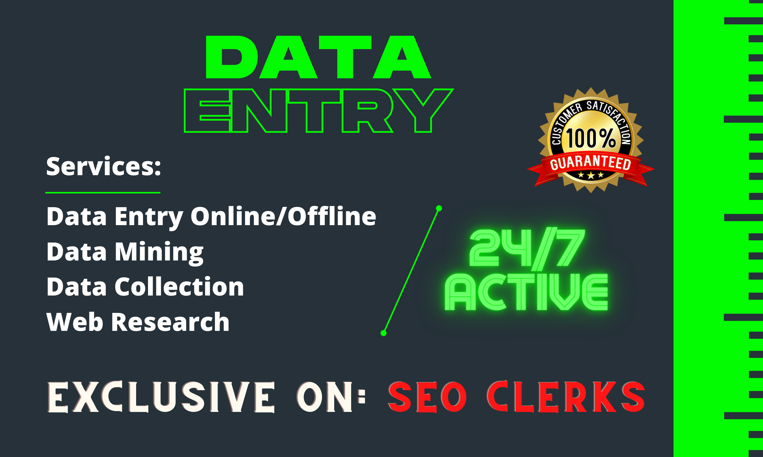I will perfect data entry,  data mining,  data collection and web research