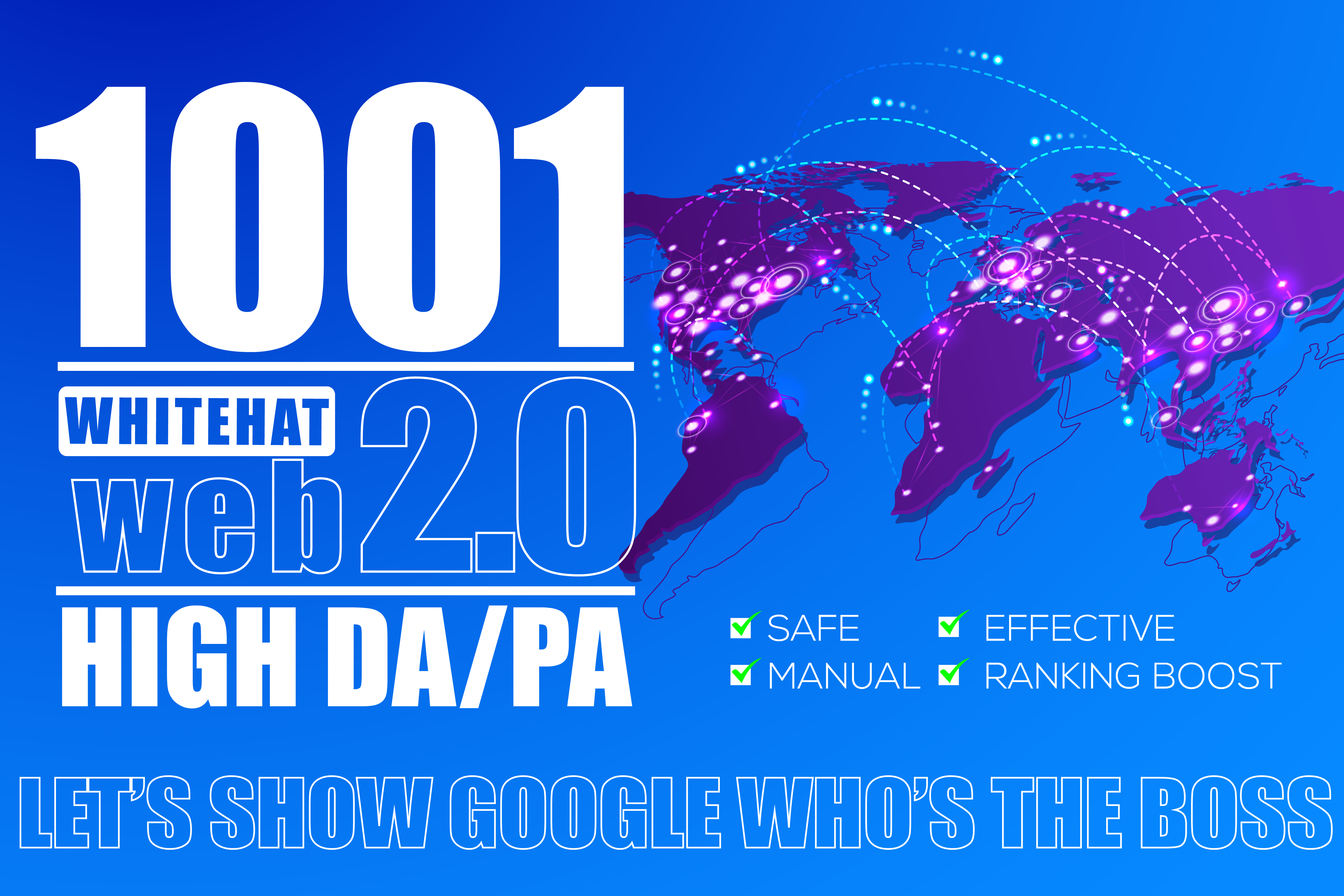 build 1001 authority web 2.0 backlinks from high DA PA