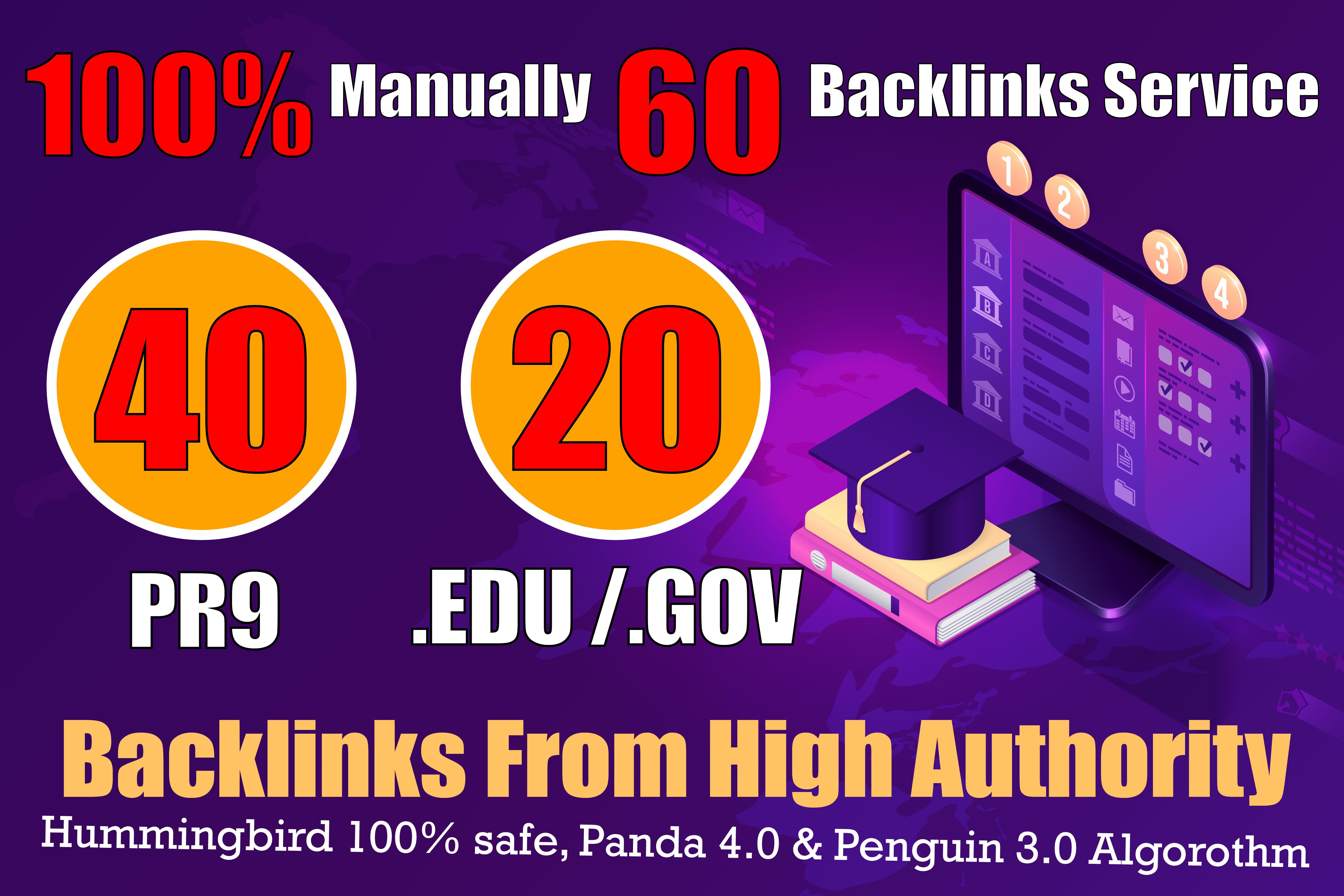 manually do 40 PR9 + 20 EDU/GOV Safe SEO High Pr Backlinks 2021 Best Results