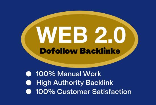 I will do manually 50 high da pa web 2 0 authority backlinks for your website