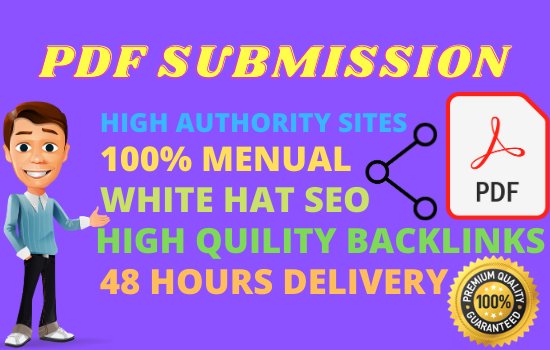25 PDF Submission High Authority PA DA Manual Backlinks White Hat Rank Site upper