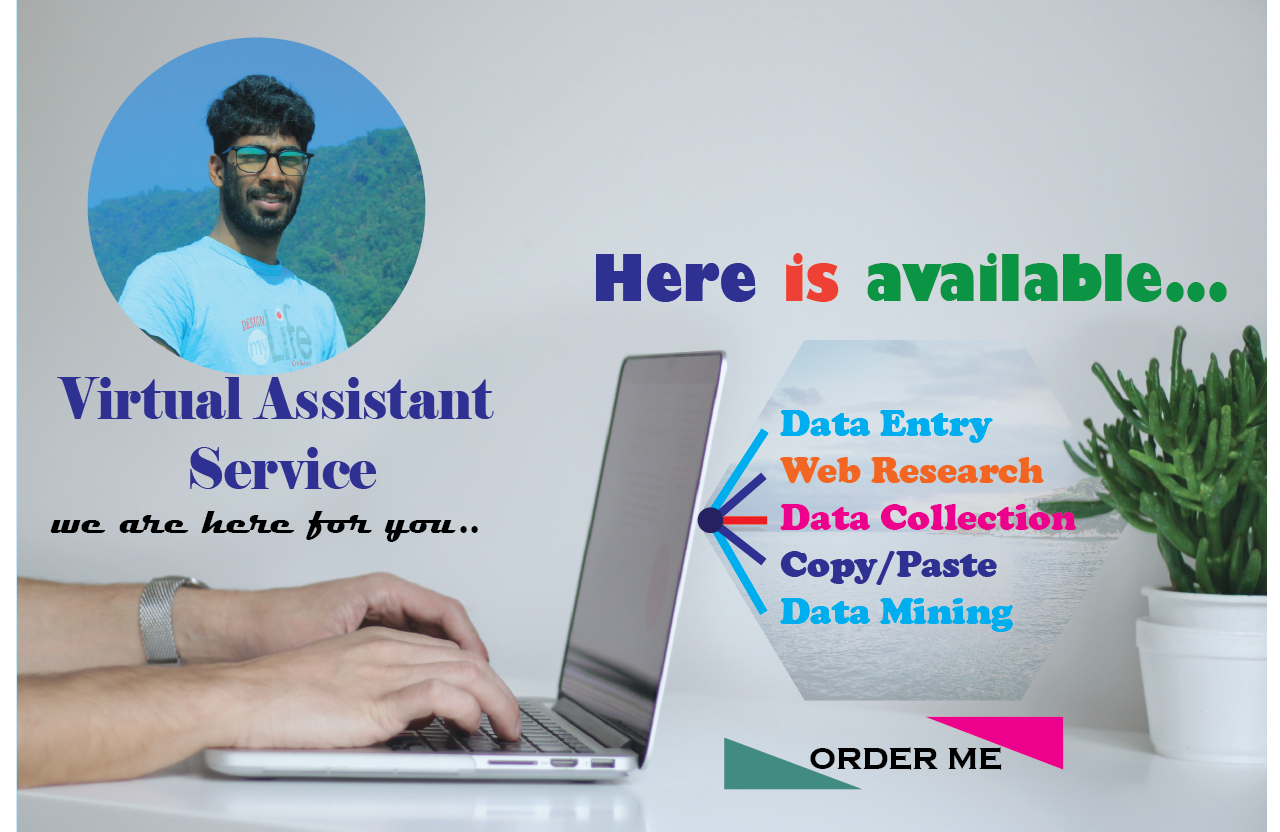I will be your virtual assistant for web research, Web Scraping and data entry