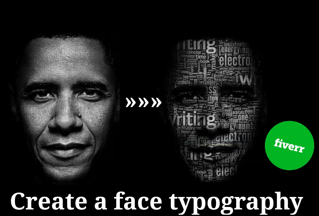 I will create a face typography in 5 min