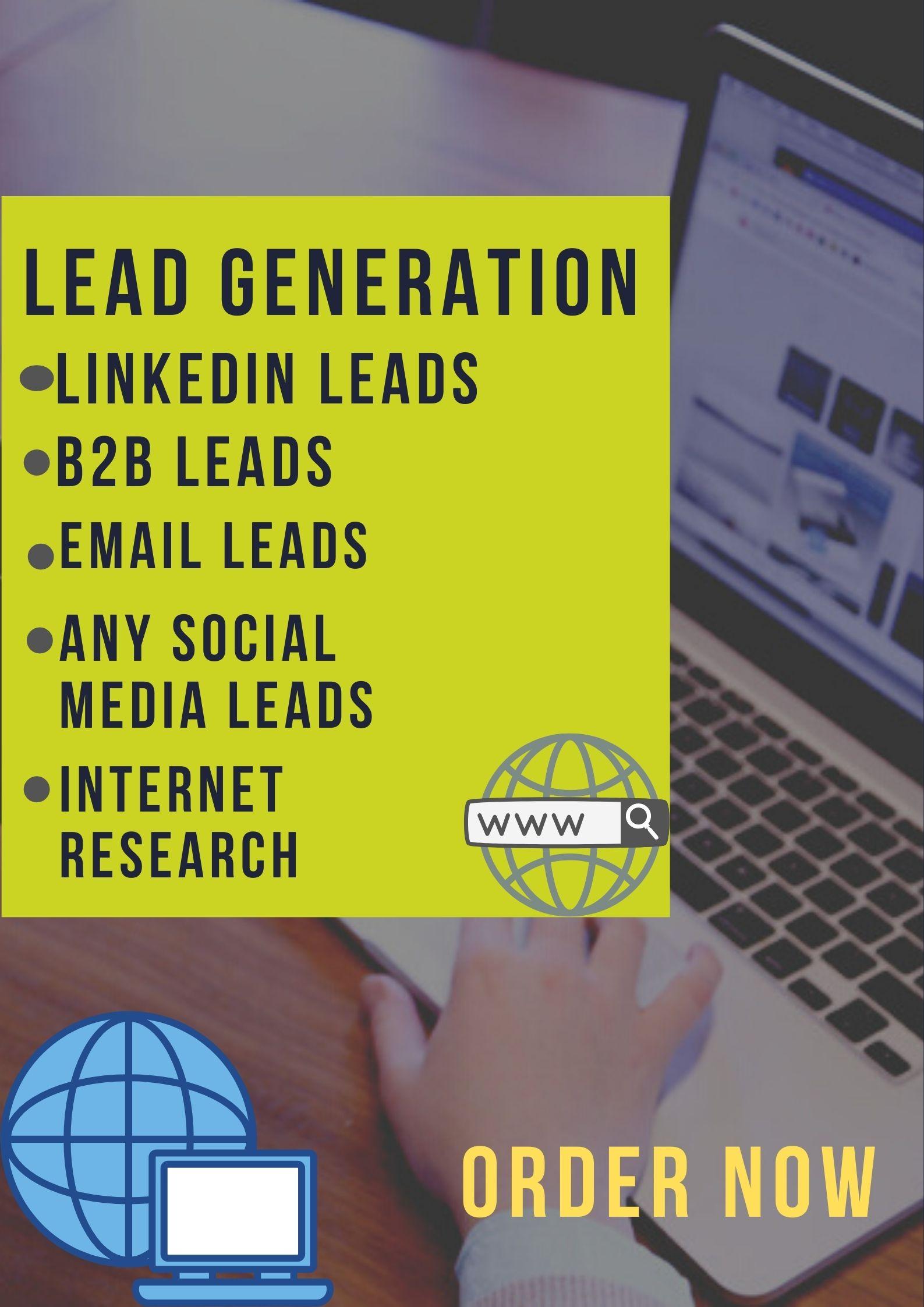 I will provide B2B lead generation targeted lead email list business lead linkedin leads