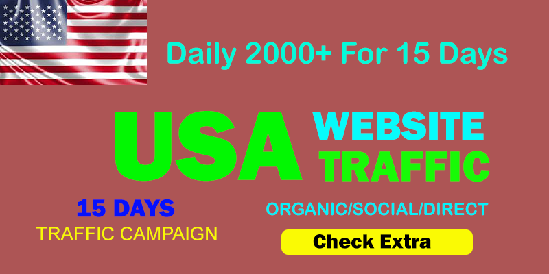 Daily 2000+USA TARGETED Organic Web Traffic to your website within 15 days.