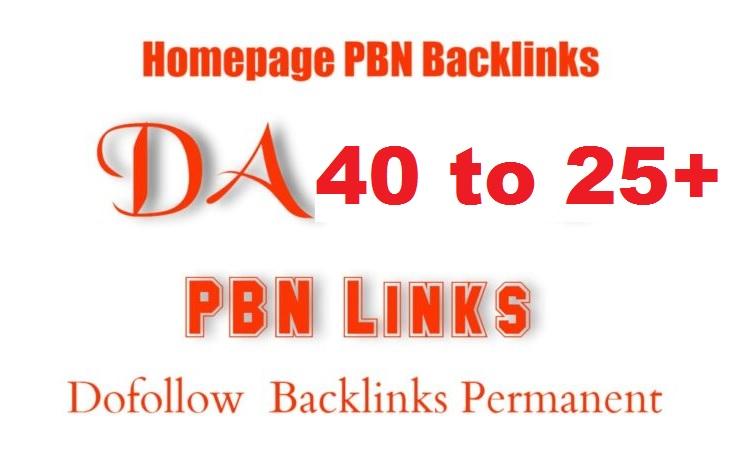 Create 5 DA 40 to 25+ Homepage PBN Backlinks To Skyrocket you SERP