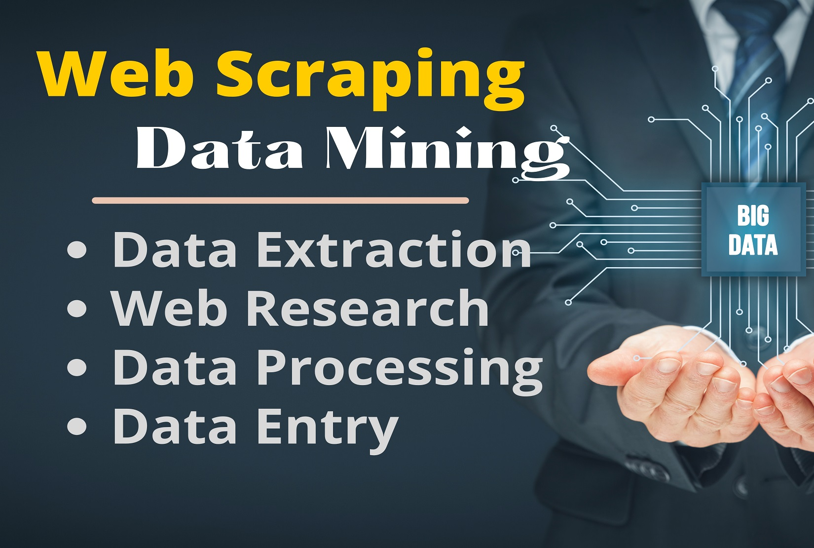I will do web scraping,  Data Mining & Data entry from any website