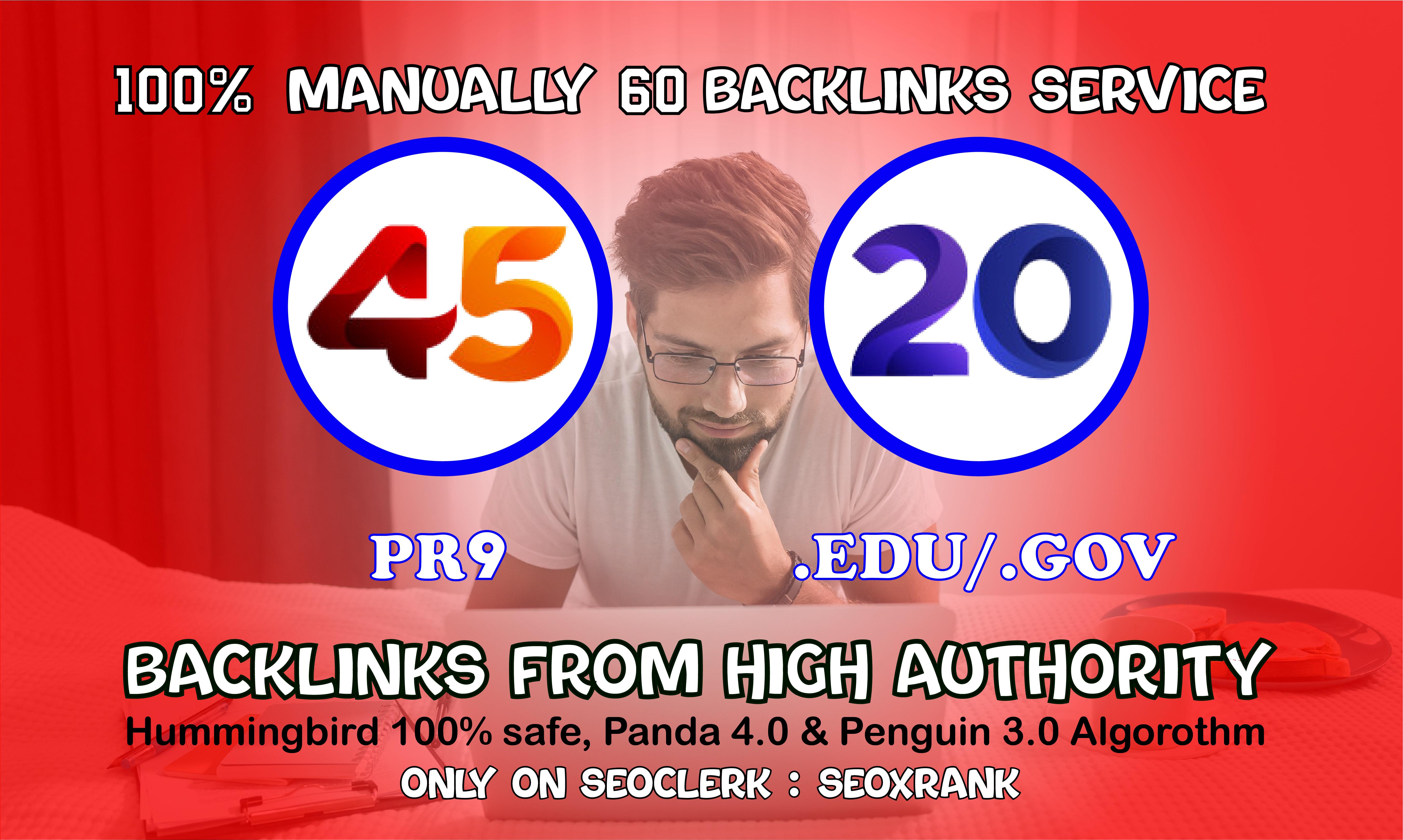 I will manually do 40 PR9 + 20 EDU/GOV Safe SEO High Pr Backlinks Best Results 2021