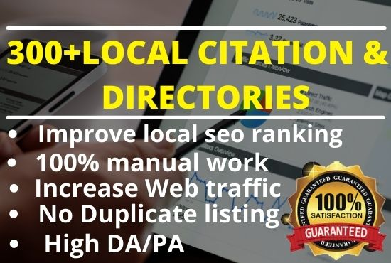 I will give top 100 local citations web directory submissions manually