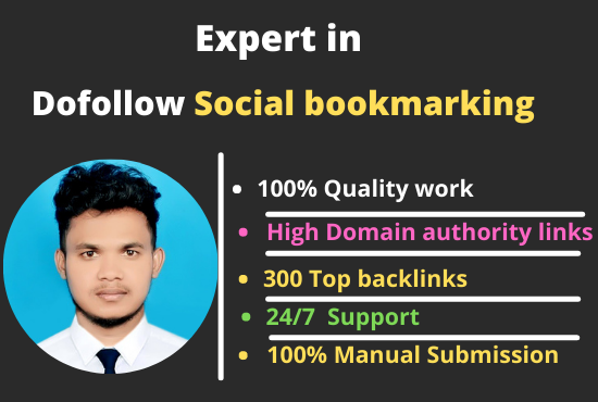 I will create manually 100 dofollow top social bookmarking backlinks
