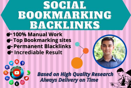 I will do up to 100 social bookmarking backlinks manually.