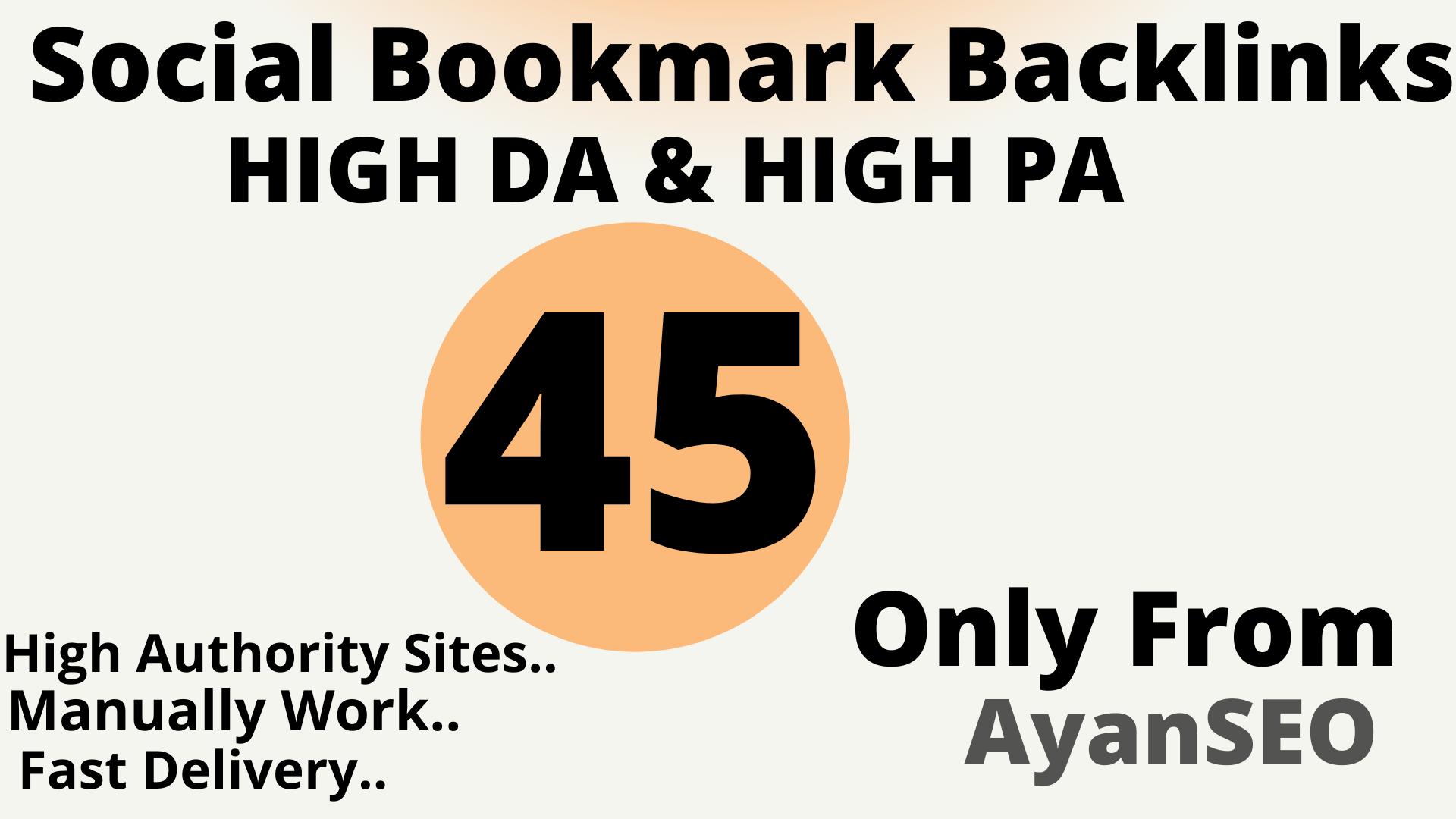 Manually 45 High Authority Social Bookmark Backlinks