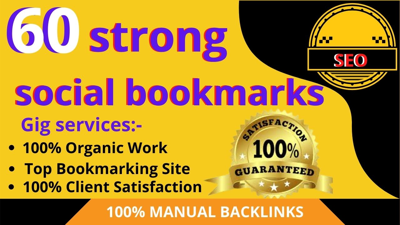 manually create high quality 60 dofollow bookmarking of social sites for ranking