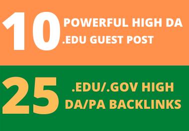 10 High DA EDU Guest Post + 25 Edu/Gov Pr9 High Authority Profile Backlinks