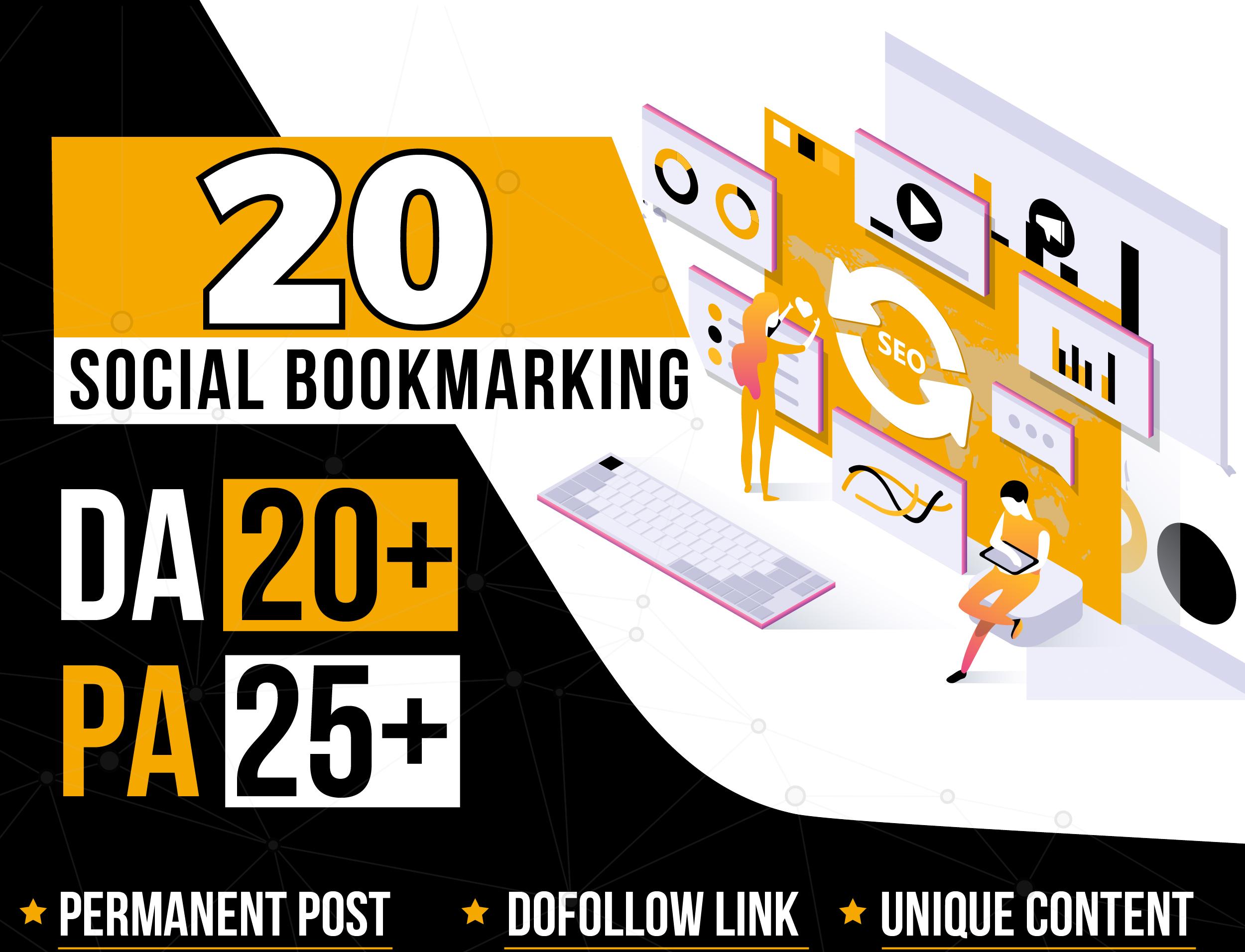 I will Provide 20 Social Bookmark High DA PA