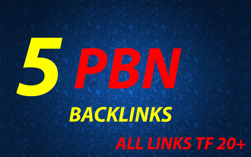 I will Make 5 High DA PA CF TF Homepage PBN Backlinks for your website