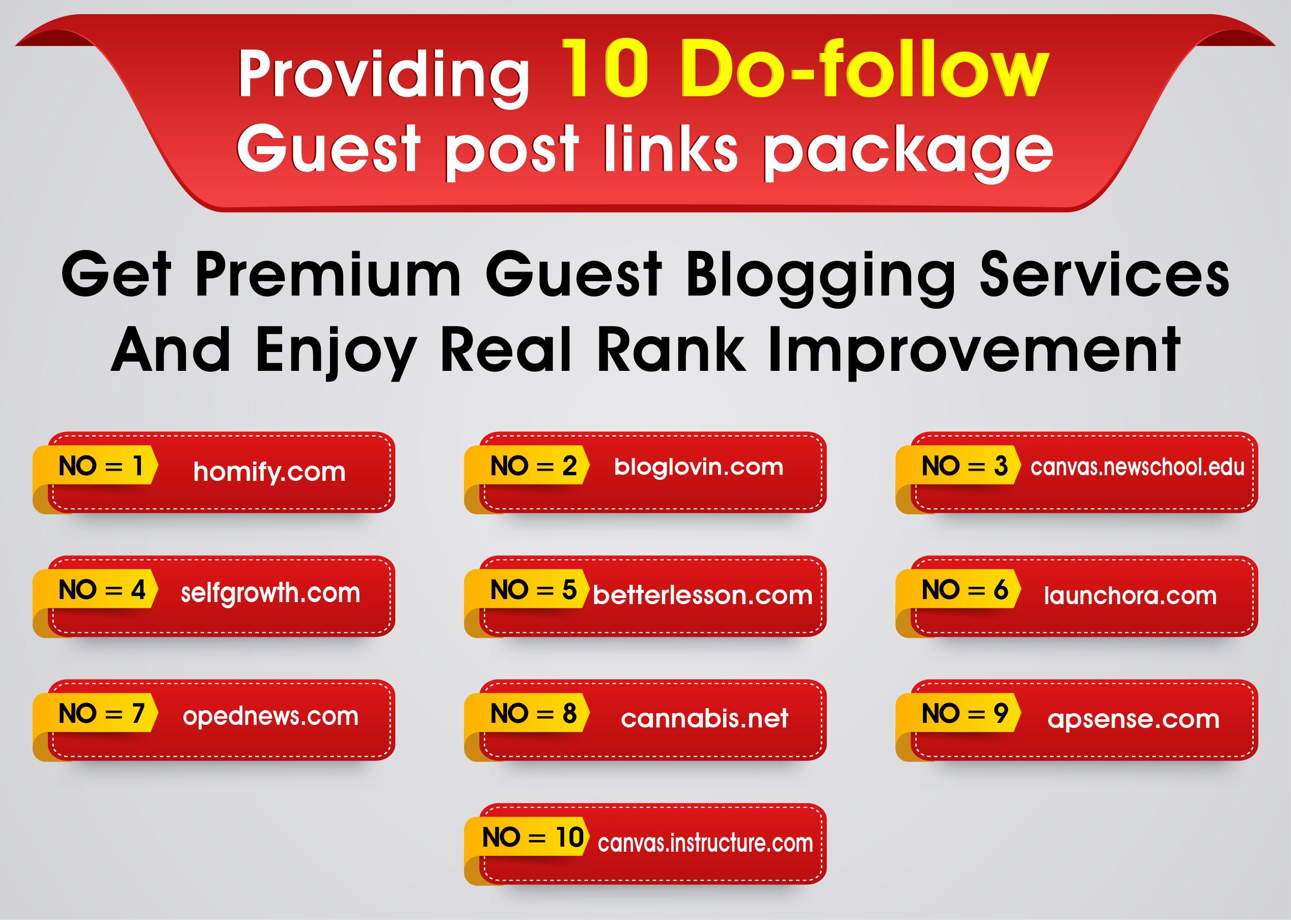 I will publish 10 Do-follow Guest posts on DA 80+ websites