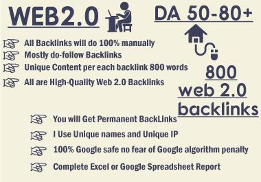 Web2 high da,  quality dofollow SEO backlinks 800 plus authority white hat link building
