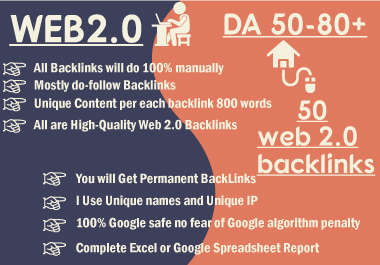 Web2 high-quality dofollow SEO backlinks da 50 plus authority white hat link building