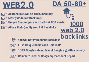 I will manually create 1000 high da dofollow super web2.0 backlinks