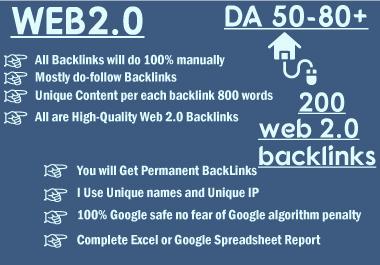 I will create 200 web2 contextual backlinks from high da platforms