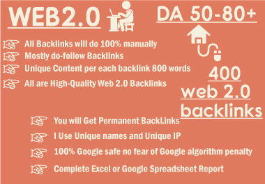 Web2 high-quality dofollow SEO backlinks da 400 plus authority white hat link building