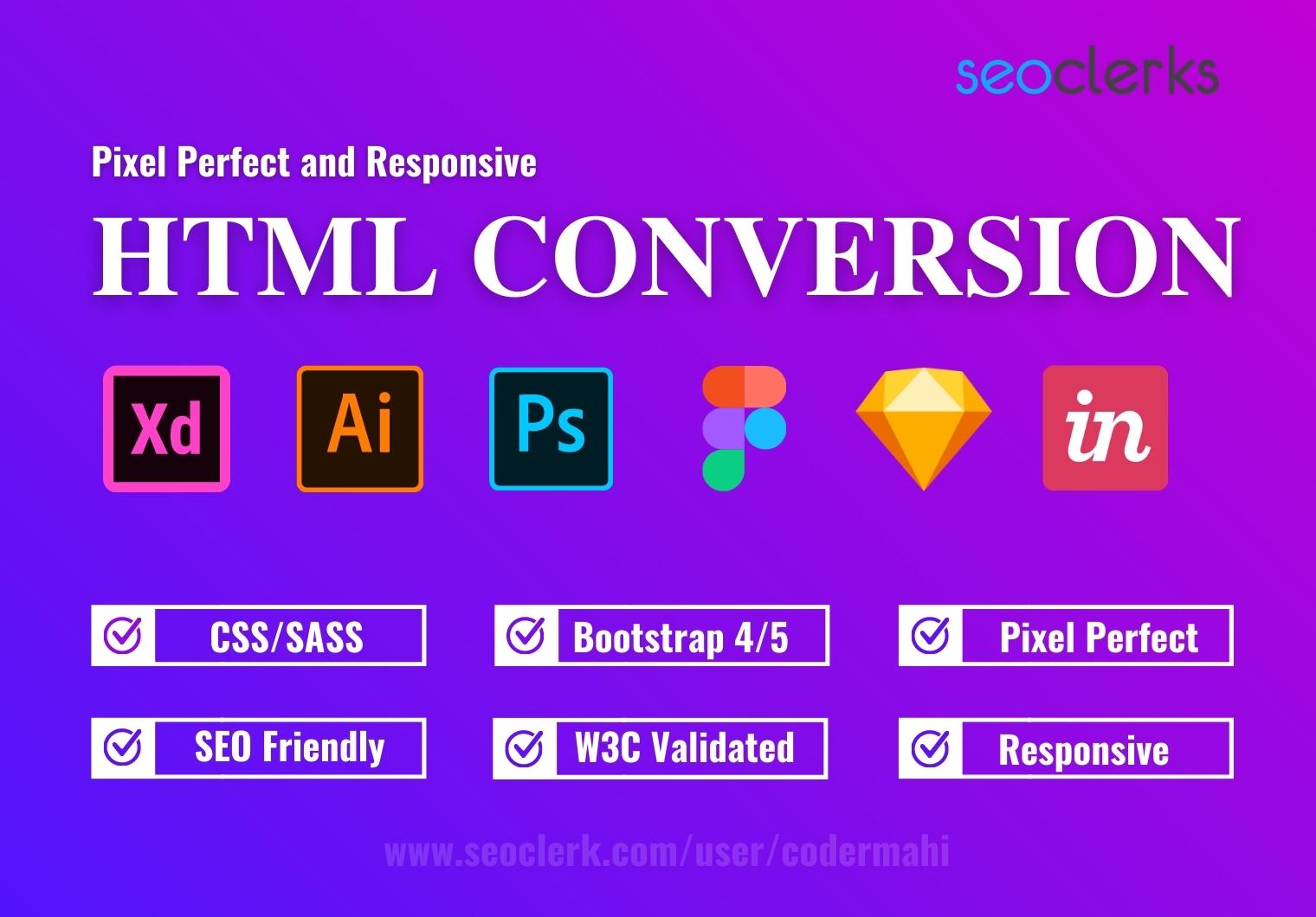 Convert PSD to HTML css bootstrap responsive website