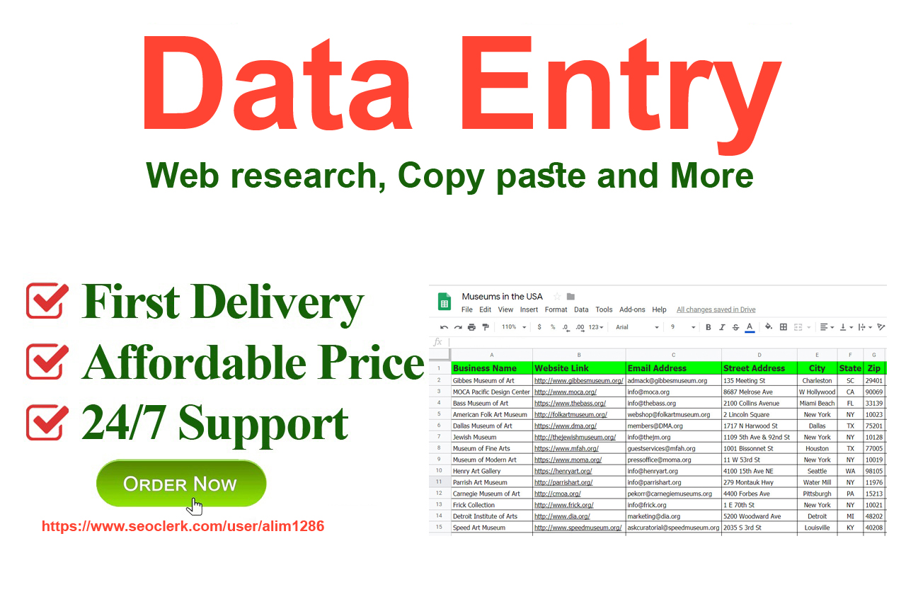 I will do perfect data entry,  web research,  copy paste and excel entry.