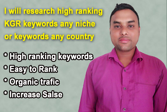 I will research high ranking KGR keyword any niche or keyword for any country